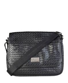 Versace 1969 abbigliamento sportivo srl milano italia - borsa portadocumenti in eco pelle - chiusura metallica, tracolla - Portadocumenti unisex Nero