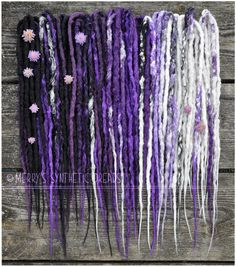 Purple silver white blackberry crocheted dreads. // Merry   https://www.facebook.com/MerrysSyntheticDreads