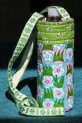 Cute Water Bottle Carrier free pattern by Kathy Mack, Pink Chalk Fabrics.