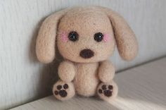 Handmade 100% wool needle felted cartoon puppy, most special gift for Christmas