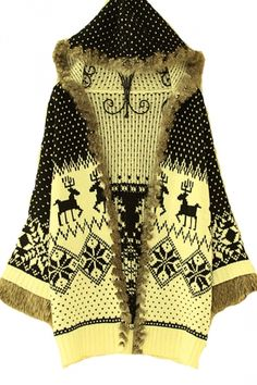 Black White Reindeer Winter Snow Furry Womens Christmas Sweater Coat.#Cheap Sweaters #2014 outfit,sweaters for fall,sweaters #girls,#chic sweaters #womens,cute sweaters for teens,#cute sweaters with leggings,fashion #sexy sweaters #party,#ugy #christmas #sweater pinkqueen.com