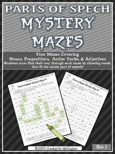Each of the four mazes include a review of different part of speech making this the perfect set to test your students' knowledge or help them practice for that important state test!    Parts of Speech Practiced:  -Common Nouns (School Related)  -Action Verbs  -Adjectives  -Prepositions  ($)