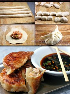 How to Make Asian Dumplings and Potstickers from Scratch. So Fun, Easy and Delicious! Raviolis Chinois Frits, Potstickers Pork, Appetizer Recipes, Appetizers, Pot Stickers Recipe, Wontons, Asian Diet, Asian Foods, Asian Food Recipes