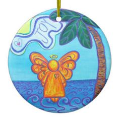 Joy and Peace Beach Angel Holiday Ornament