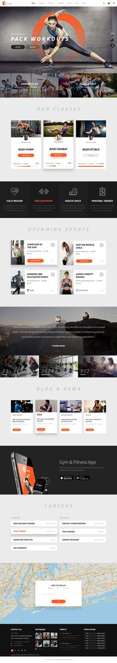 Aslan is an unique and creative Gym & Fitness PSD Template, which was designed with strong contrast, block square shape and diffused shadow to make a new snappy look for your fitness website. Website Layout, Web Layout, Layout Design, Website Ideas, Website Web, Website Themes, Create Website, Web Sport, Fitness Websites
