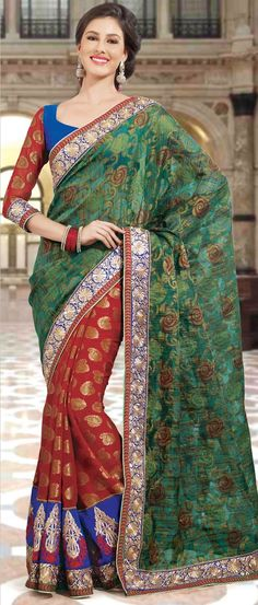 Green and Red Art #SilkSaree with Blouse @ $85.16