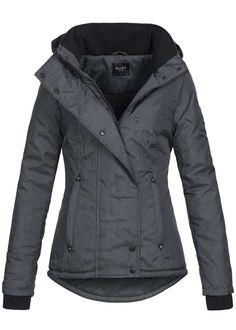 Brave Soul Damen Winter Jacke Kapuze abnehmb 2 Taschen innen gefüttert dunkel grau melange - 77onlineshop