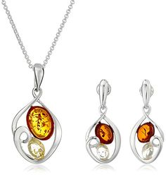 """Sterling Silver Multi-Color Amber Oval Dangle Earrings and Chain Pendant Necklace Jewelry Set, 18"""""""