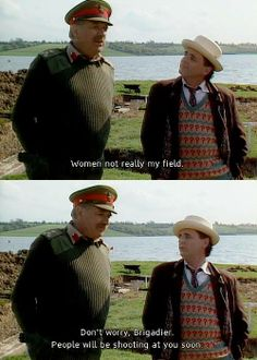 Sylvester McCoy as the Seventh Doctor with The Brigadier
