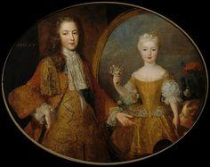 Louis XV, roi de France, âgé de 11 ans, en 1721, devant le portrait de sa fiancée Marie-Anne-Victoire de Bourbon, infante d'Espagne, par Belle