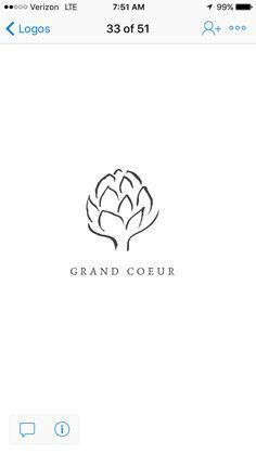 Artichoke logo for Grand Coeur wines by Cast and Company Branding Design, Logo Design, Graphic Design, Small Tattoos, Cool Tattoos, Tea Logo, Italian Restaurants, Artichokes, Logos