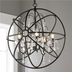 Crystal and Metal Orb Chandelier - Shades of Light