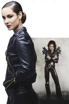 The Bond Girl: Wai lin (Michelle Yeoh), Tomorrow Never Dies, 1997  Toting a machine gun (or two) requires fearlessness, and nothing exudes that more than head-to-toe leather. For resort, go all-in with this Rag & Bone jacket and Bally pencil skirt.  Marlohe wears a Rag & Bone jacket, a Bally skirt, and a Linea Pelle Collection belt.   - ELLE.com