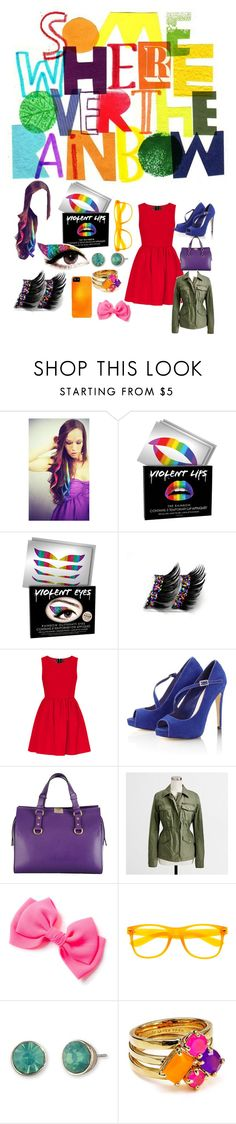 """""""somewhere over the rainbow"""" by ro-j ❤ liked on Polyvore featuring Violent Lips, Lipsy, Dsquared2, Lonna & Lilly and Kate Spade"""