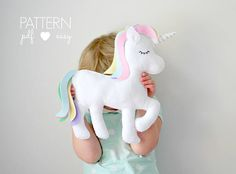 Felt Unicorn Pattern - This darling rainbow unicorn is stitched entirely by hand and is the perfect sewing pattern for beginners. How will you use your felt unicorn? As a toy, baby mobile, garland, ornament, cake topper... whatever you choose! BONUS! - Large size unicorn pattern now