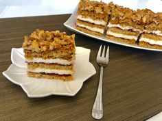 Miodownik z orzechami i masą grysikową - Blog z apetytem Polish Desserts, Polish Recipes, Polish Food, Pineapple Coconut Bread, Baking Recipes, Cake Recipes, Food Cakes, Tiramisu, Waffles