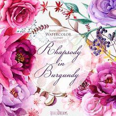 Watercolor Burgundy Floral Elements Peonies and por ReachDreams