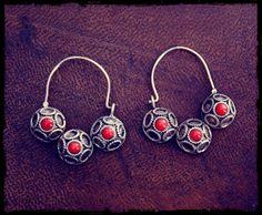 Ethnic Coral Hoop Earrings by CosmicNorbu on Etsy