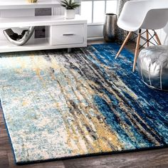 Nuloom Modern Abstract Vintage Blue Area Rug 5 X