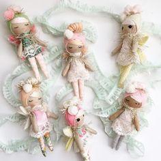 Pretty little fairies. Tiny Dolls, Soft Dolls, Felt Fabric, Fabric Dolls, Crochet Fairy, Handmade Crafts, Handmade Dolls, Sewing Dolls, Plush Dolls