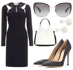 Black and white office dress women workwear with polka dot high heels