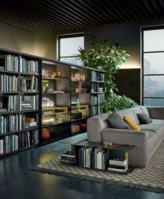 Free standing wall/bookcase system by Poliform. I also like the book storage and end table pieces that can wrap a sofa
