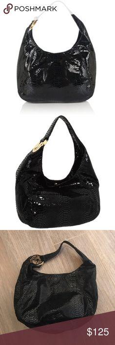 Michael kors python leather shoulder purse black Michael kors python leather shoulder purse black. Used once Michael Kors Bags Shoulder Bags