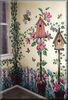 Garden Fence Art, Garden Mural, Wall Painting Decor, Garden Painting, Fence Painting, Painted Shed, Outdoor Paint, Wall Art Designs, Wall Murals