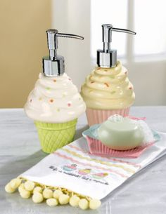 Cupcake and ice cream soap dispensers