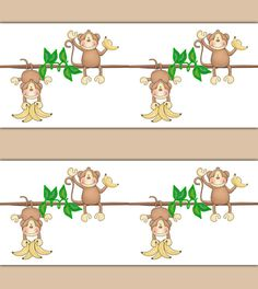 Monkey Wallpaper Border decals wall art baby boy or girl jungle animal nursery or children's safari room decor #decampstudios