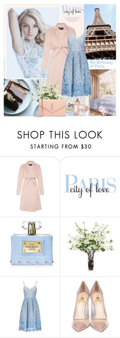 """""""My birthday at Paris"""" by lovemeforthelife-myriam ❤ liked on Polyvore featuring Oris, Rochas, WALL, Versace, Lux-Art Silks, Semilla and Yves Saint Laurent"""