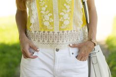 Turning Heads Linkup - Yellow Lace Embroidered Top with White Denim Shorts