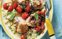 Roast chicken with tomato and garlicky cauli-couscous