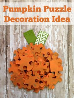 Upcycle Puzzle Pieces Into This Diy Pumpkin. An Easy Home Decor Project Even To Do With The Kids Halloween Craft Idea Navigate For The Full Tutorial For This Diy Project. Easy Fall Crafts, Halloween Crafts For Kids, Thanksgiving Crafts, Halloween Pumpkins, Holiday Crafts, Fun Crafts, Fall Diy, Halloween Labels, Halloween Stuff