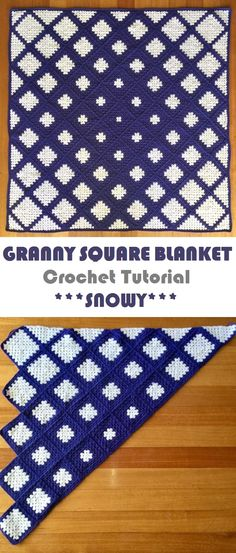 Granny Square Blanket – Snowy Design Pattern – Handmade paris