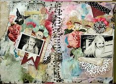 Journal Page. Love all the doilies and textures.