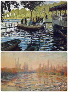 E' innegabile l'insana passione che lega Claude Monet all'acqua. https://www.facebook.com/notes/prof-espertino-della-tela/lezioni-di-storia-dellarte-a-cura-del-prof-espertino-della-tela-lezione-n-8-la-g/239723962804574 Claude Monet, granouillere, 1869; banchi di ghiaccio, 1880.