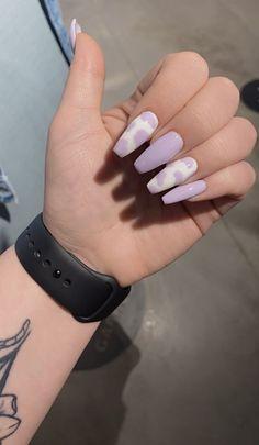 Purple Acrylic Nails, Remove Acrylic Nails, Lilac Nails, Lavender Nails, Acrylic Nails Coffin Short, Best Acrylic Nails, Pink Acrylics, Acrylic Nail Designs, Cow Nails