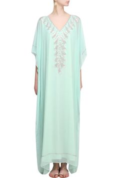 63ee281bd9 Aqua wave glass cutdana and beads embroidered kaftan dress available only  at Pernia s Pop Up Shop.