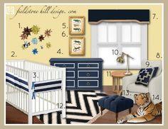 A Mood Board for a boy's nursery; design by Fieldstone Hill Design. www.fieldstonehilldesign.com