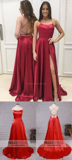 Red Prom Dresses,Long Formal Dresses,2018 Evening Dresses For Women,Sexy Party Dresses with Split Front #partydresses