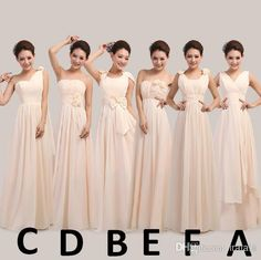 Mix Different Style Long Champagne Vestidos Dress Long Chiffon Bridesmaid Maid Honor Dress Dresses for Wedding Ceremony W892, $27.09 | DHgate.com