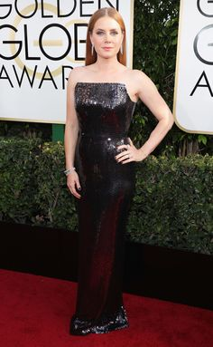 Amy Adams Dress: Tom Ford Black Sequin Gown, Black Sequins, Dress Black, Celebrity Red Carpet, Celebrity Style, Golden Globe Awards 2017, Adam Black, Red Carpet Looks, Grey Carpet