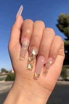 Acrylic Nails Coffin Pink, Long Square Acrylic Nails, Gold Nails, Summer Acrylic Nails, Pastel Nails, Spring Nails, Summer Nails, Nagel Bling, Acylic Nails
