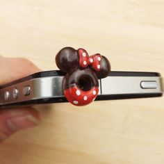 Cute Red Bowknot Mikey Chocolate Ring Dust Plug - 3.5mm Phone Dust Stopper Earphone Cap Headphone Jack Charm for iPhone 4 4S 5 HTC Samsung
