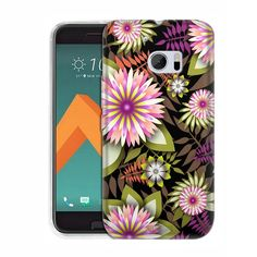 HTC 10 Exotic Pink and White Flowers on Black Slim Case