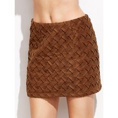 SheIn(sheinside) Brown Suede Braided Skirt (475 MXN) ❤ liked on Polyvore featuring skirts, brown, faux suede a line skirt, faux suede mini skirt, a line mini skirt, brown mini skirt and brown a line skirt
