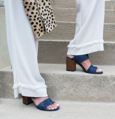 Stuart Weitzman's denim chunky heel is the perfect summer shoe to pair with all your outfits