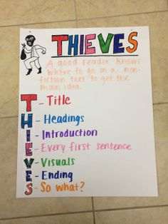 THIEVES Reading Strategy for Informational Text- Anchor Chart