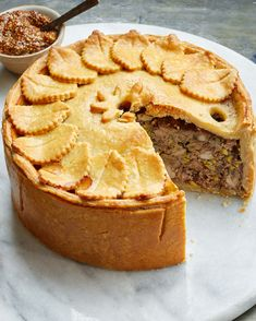 Martha's Deep-Dish Meat Pie Is Impressive Inside and Out Pork and chicken Game Pie, Martha Stewart Deep Dish, Quiches, Empanadas, Hot Water Pastry, Hot Water Crust Pastry Recipe, Pie Recipes, Cooking Recipes, Steak Recipes, Recipies